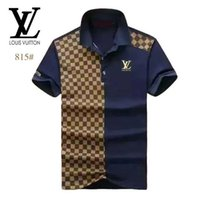 Homens High street Polo Pattern Shirt Fashion Designer Preto manga curta Verão Hetero Cotton Polos fashionFF 629