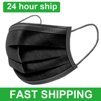 Freie Usps 8 ~ 10Tage Black 3-Schicht-Einweg-Maske Gesicht Mundmasken Meltblown Tuch Einweg Anti-Staub-Masken Earloops Mask