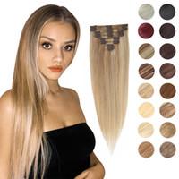 Clipe em extensões de cabelo humano clips hether het head 8 pc loira destaque 14 18 22 polegadas máquina feita remy