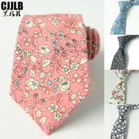 Pembe Vintage erkek 7 cm Pamuk Kravatlar Çiçek Kravatlar Erkek Moda Kravat Rahat Takım Elbise Düğün Skinny Boyun Kravat Parti Slim Kravat Gravatas
