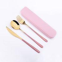 4pcs couverts en acier inoxydable Couverts Couteau portable fourchette cuillère vaisselle avec boîte Couteaux Forks Cuiller Kits Vaisselle AAF2059