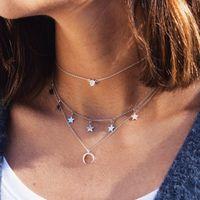 Mode-mehrschichtige Kristallhalsketten-Frauen-Böhme-Silber-Farben-Mond-Stern Crescent Horn Halskette Schmuck Neue