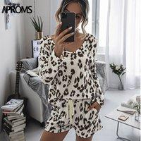 Aproms Vintage леопардовый 2 Piece Set Женский Повседневный длинным рукавом и шорты отдыха Loungewear костюмы для женщин Костюмы