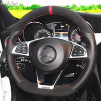 Черный замша черный натуральная кожа крышки рулевого колеса для Mercedes-Benz C200 C250 C300 Sport CLA220 B250 B260 A200 A250