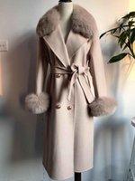 Cappotto di cachemire da donna con collo in pelliccia reale e polsino Lungo caldo di alta qualità Outwear con cintura