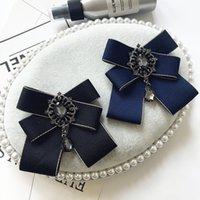 Pins, broches vintage lint boog stropdas strass Bowtie broche British College Style Shirt Collar voor mannen en vrouwen accessoires