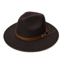 LUCKYLIANJI Retro Kid Bambino Vintage 100% lana largo in pelle Brim Cap Fedora Panama cappello di jazz Bowler Band (/ Adjusted 54 centimetri) CX200819