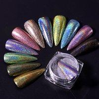 1box Laser ongles paillettes holographiques Poudre pour ongles Miroir de polissage Pigments Chrome Shimmer Dip Powders Nail Art Décorations