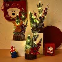 Led Yılbaşı Ağacı Süsleri Süsler Ahşap Taban Masaüstü Dekoru Yılbaşı Partisi Dekorasyon Ren Geyiği Çam Konileri HH9-3262
