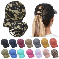 New Criss Cross Baseball Cap Ponytail Washed Cotton distress...