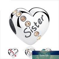 صلب 925 فضة حجر الراين القلب الحب الخرز منذر ابنة الأخت قلوب سحر لDIY مجوهرات اكسسوارات