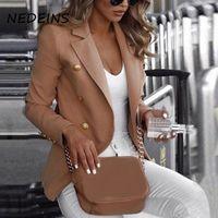 NEDEINS Veste à double boutonnage Blazer Automne Casual manches longues Slim Fit Jacketes Solid Color Plus Size Coat Blazer Femme