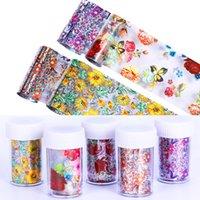 QualityLace fiore di farfalla Nail Foil Trasferimento Stickers Fiore Foglia Albero Summer Mix Florals decalcomanie del chiodo accessori di arte