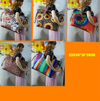 Hombro Mujeres girasol del arco iris de rayas leopardo del bolso del diseñador de teñido del filtro impermeable de Compras Bolsa de viaje totalizadores viaje Weekender Bolsa D81903