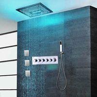 여러 기능 온도 조절 샤워 믹서 세트 욕실 원격 제어 64 색 강우 폭포 MistFal LED 가벼운 비 샤워 헤드 세트