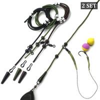 2set = 12PCS Pêche à la carpe Accessoires Set Rig Hélicoptère tubes Manches queue en caoutchouc Chöd Rig Perle Chöd Rig Roling clips pivotant Kit