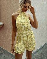 إمرأة ارتفاع الخصر السراويل أكمام قصيرة السروال القصير شارع الصيف نمط ملابس الموضة النسائية فلورا مطبوعة حللا