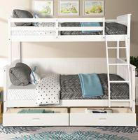 US STOCK Twin über den gesamten Etagenbett Möbel mit Leitern Zwei Speicherfächer Weiß Schlafzimmermöbel für Kinder Erwachsene LP000065KAA