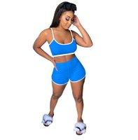 Femmes Shorts Ensembles Survêtement Designer Tops Soutien-gorge Camisole Crop + Shorts Hot Pants ensembles deux pièces Casual Costume YOGA sportif d'été tenue LY812