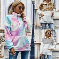 winter new style tie dye fleece patchwork pullover fashion c...