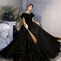 luxury black with golden sequined fairy ball gown medieval carnival princess vintage Renaissance Gown queen cosplay dress