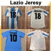 120. Immobile Herren Retro Soccer Jerseys 1991 Gascoigne Home Football Hemd 1999 2000 SS Latium Mancini Inzaghi Neded Nesta Uniformen