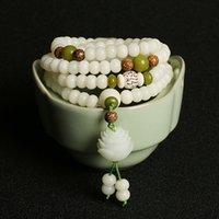 108 * 8 мм / 10 мм Оригинальный дизайн Натуральный белый бодхи корневые бисеры пряди лотос браслет для женщин медитация балансировки ювелирных изделий подарок