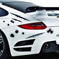 1pcs Funny Car Stickers 3D Bullet Trou Side Car Stickers voiture couvre-moto Scratch réaliste autocollants trou de balle