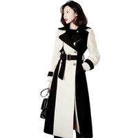 Women's Wool & Blends Womne Elegant Long Coat 2021 Winter Office Lady Double-Breasted Lapel Collar Belted Jacket Coats Female Woolen Outerwe