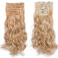 """16 clipes em extensão de cabelo onda de corpo 22 """"clipe de extensão de cabelo para mulheres extensões de cabelo sintético marrom 613 # ombre cor"""