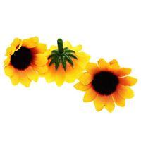 100 Pcs Artificial Sunflower Little Daisy Gerbera Flower Heads for Wedding Party Decor (Yellow&Coffee)