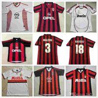 أعلى 90 91 93 94 Retro 96 97 Gullit Soccer Jersey 02 03 Maldini Baggio Van Basten Football Ronaldo Kaka Inzaghi 06 07 2009 2010