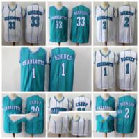 "Vintage Charlotte ""Hornets"" Jusque Jersey de basketball 15 Kemba Walker 1 Tyrone Muggsy Bogues 30 Dell Curry 2 Larry Johnson Jerseys"