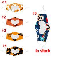 7 stili Visibile Maschera Viso Bocca di copertura per le maschere sordo e muto Halloween Party Flora stampati regolabili Earloop Adulti Cotton viso maschere