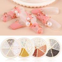 Ny 1 Wheel Mix Nail Rhinestones Metal Pärlor Kaviar AB Pearl Glass 3D Crystal Nail Art Decorations Golden Smycken Tillbehör