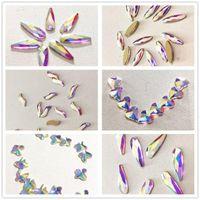 Nagelkunst Dekorationen 100 stücke Glas Strasssteine AB Kawaii Herz Farben Cristal Schmuck 3D Horse Eye Flache Wasser Tropfen Zubehör Edelsteine Lieferung
