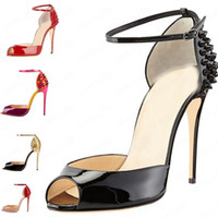 2020 Mulheres moda Rebites Salto Alto Vestido Peep Toes Sapatos Super High Heel Sandals cravado Studded Red inferior Bombas 10 centímetros tamanho 34 -42