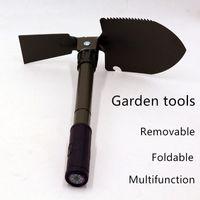 Herramientas de hierro pala de jardín al aire libre de múltiples funciones plegable de la pala Pala portable de la pesca del campo táctico con camuflaje bolsa de almacenamiento