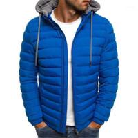 Jacken Winter Fashion Reißverschluss Mens mit Kapuze Mäntel beiläufige Brife Solid Color Männer Kleidung Herren Designer