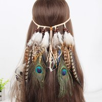Feather headdress accessories ethnic style Indian handmade H...
