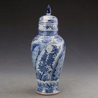 Coleção antiga de Qing Kangxi Porcelana templo Jar Jar Azul e Branco Flores decorativa Jingdezhen antigo vaso jarro de cerâmica