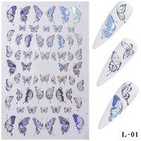 3D бабочки ногтей наклейки Nagels Nail Art Laser Золото Серебро Vlinder Наклейка Наклейка Vlinders Акрил Маникюр Decoratie Инструменты HOT