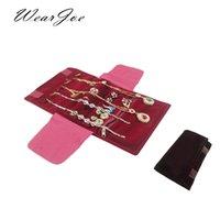 Borgonha elegante ou Black Velvet pequena jóia Organizador Rolo Viagem Zipper saco caso para vários Colar Anel Brincos de armazenamento
