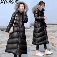 Kadın Aşağı Parkas Ayunsue 2021 Ceket Uzun Kış Ceket Kadınlar Büyük Kürk Yaka Kapşonlu Kore Sıcak Kirpi Chamarras de Mujer 0029