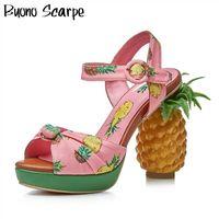 Сандалии на высоком каблуке ананаса Pepp Pepp Toe платформа женские сандалии пряжки летние вечеринки женская обувь напечатанный узел Элегантные каблуки обувь