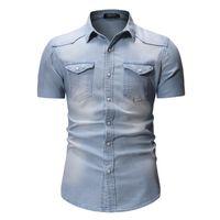 2020 여름 데님의 새로운 셔츠 남성 코튼 데님 셔츠 패션 슬림 짧은 소매 카우보이 남성 육군 세련된 아시아 크기 3XL 탑