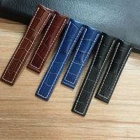 22mm 24mm Siyah Kahverengi Mavi Gerçek Deri Watchband Bileklik İçin BRWatch Kayış Avenger Kemer Navitimer Bilezik