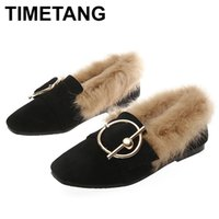 TIMETANG Buckle Fur Women Shoes Metal Flats Square Toe Flats Winter SlidingShoes Plus Size Zapatos de Mujer BlackPinkE952