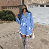 Elbise İlkbahar Sonbahar Ripped Jeans Püskül dizayn edilmiş elbiseler Kadınlar Hiphop Denim Blue Jean Gömlek