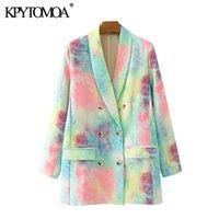 KPYTOMOA Kadınlar 2020 Moda Çift Breasted Tie-boya Baskı Blazer Ceket Vintage Uzun Kollu Kadın Dış Giyim Şık CX200819 Tops Pockets
